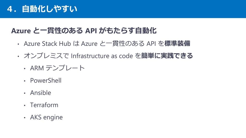 4.自動化しやすい Azure と一貫性のある API がもたらす自動化 • Azure St...