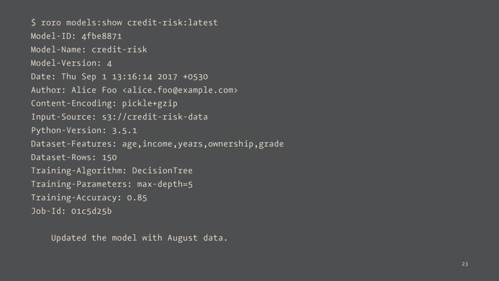 $ roro models:show credit-risk:latest Model-ID:...