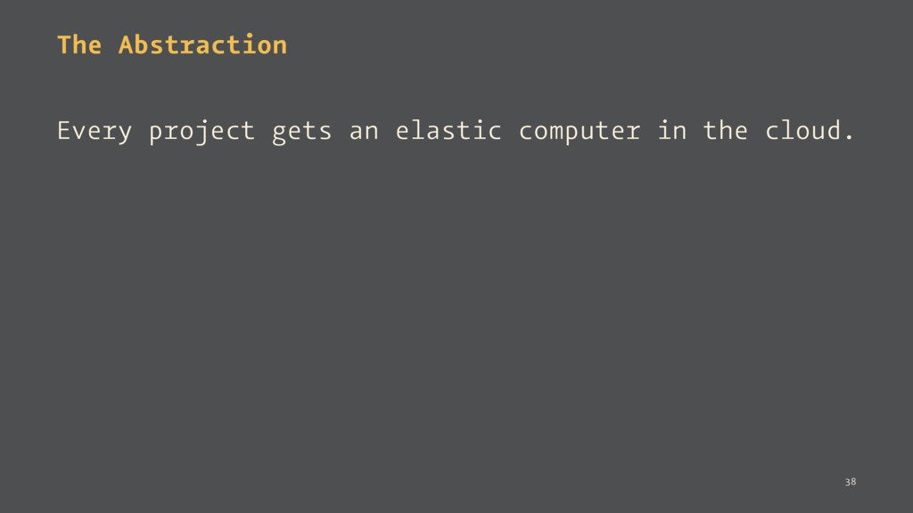 The Abstraction Every project gets an elastic c...