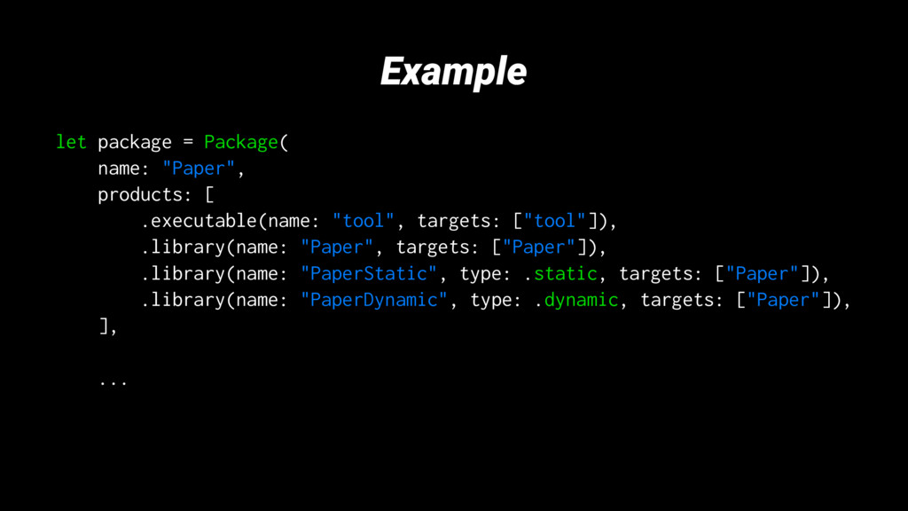 "Example let package = Package( name: ""Paper"", p..."