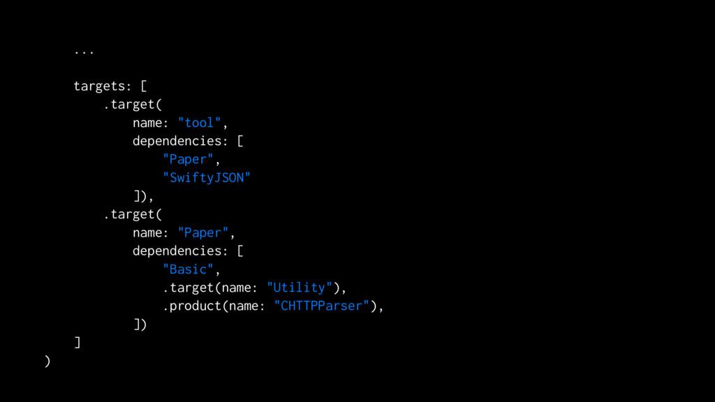 """... targets: [ .target( name: """"tool"""", dependenc..."""