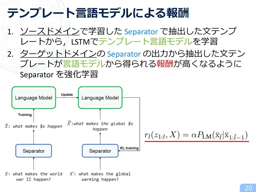 1. ソースドメインで学習した Separator で抽出した⽂テンプ レートから,LSTMで...
