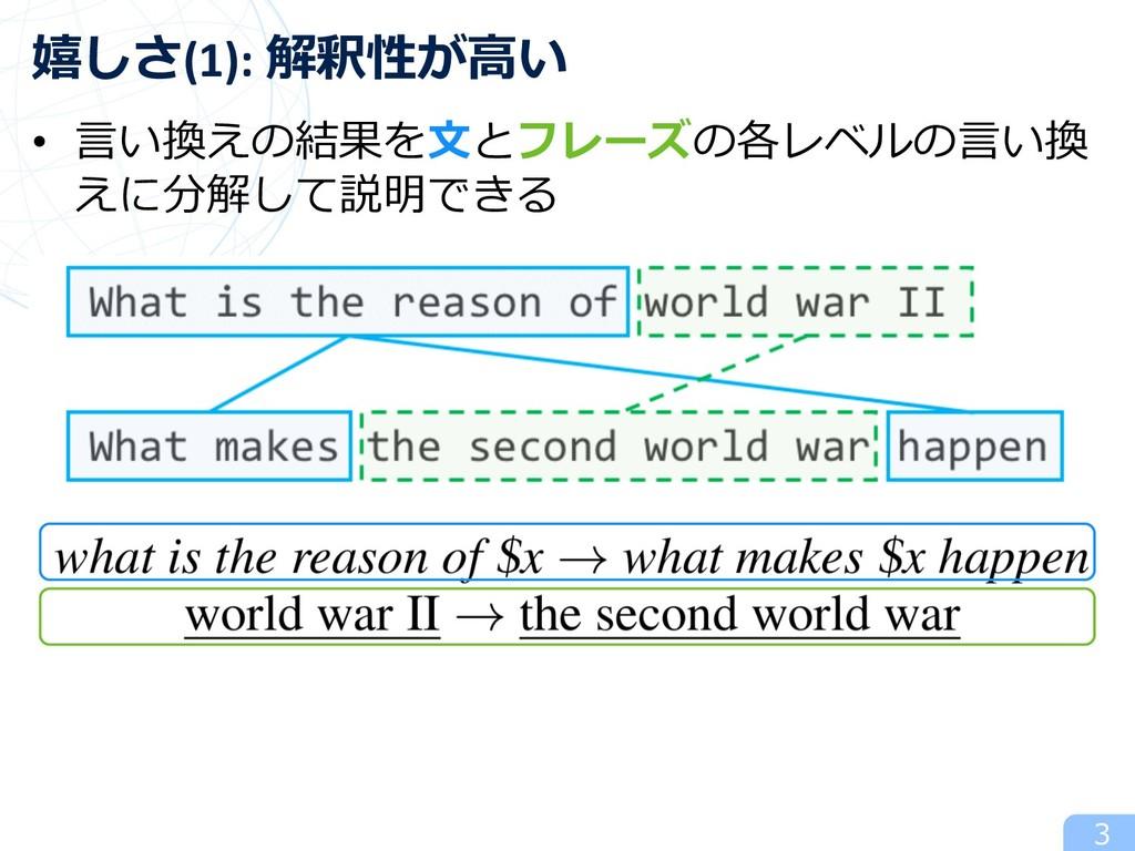 • ⾔い換えの結果を⽂とフレーズの各レベルの⾔い換 えに分解して説明できる 3 嬉しさ(1):...