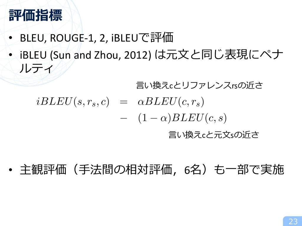 • BLEU, ROUGE-1, 2, iBLEUで評価 • iBLEU (Sun and Z...