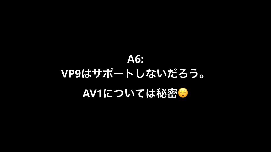 A6: VP9αϙʔτ͠ͳ͍ͩΖ͏ɻ AV1ʹ͍ͭͯൿີ