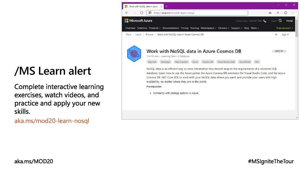 /MS Learn alert aka.ms/mod20-learn-nosql