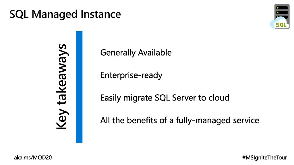 Key takeaways SQL Managed Instance