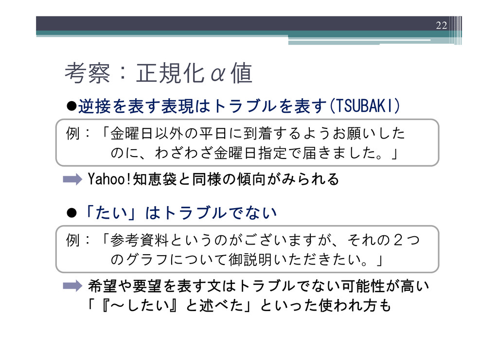 z逆接を表す表現はトラブルを表す(TSUBAKI) 例:「金曜日以外の平日に到着するようお願い...