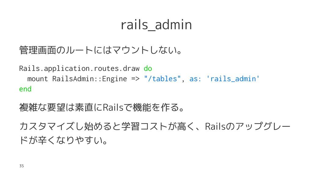 rails_admin 管理画面のルートにはマウントしない。 Rails.applicatio...