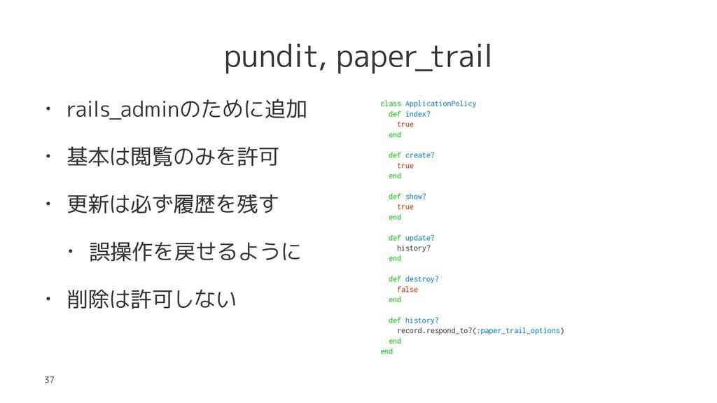 pundit, paper_trail • rails_adminのために追加 • 基本は閲覧...
