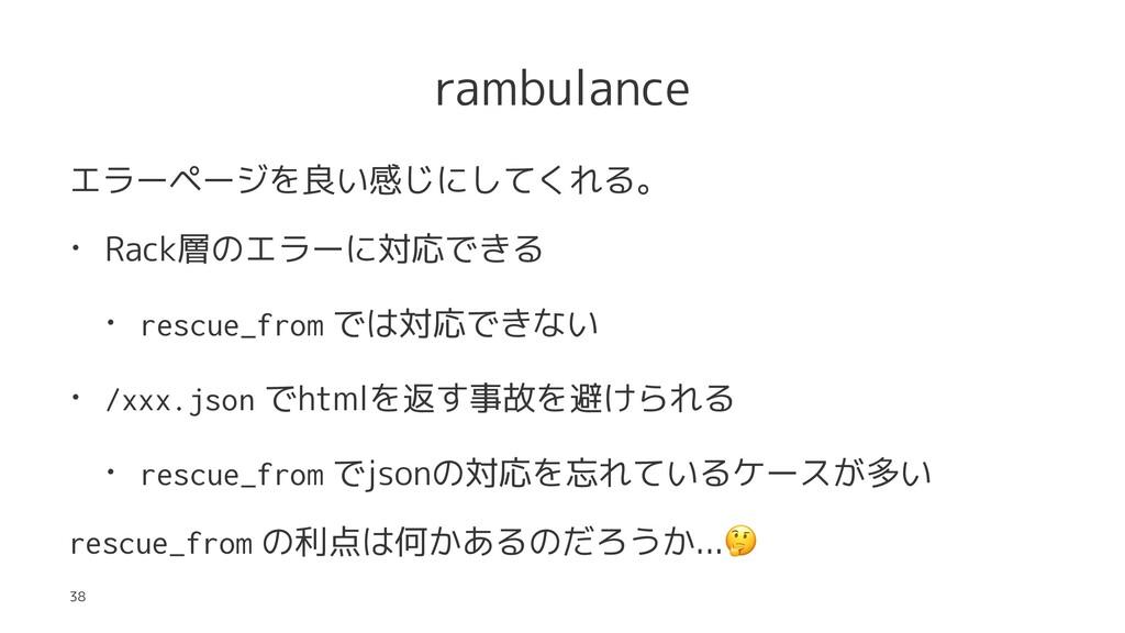 rambulance エラーページを良い感じにしてくれる。 • Rack層のエラーに対応できる...