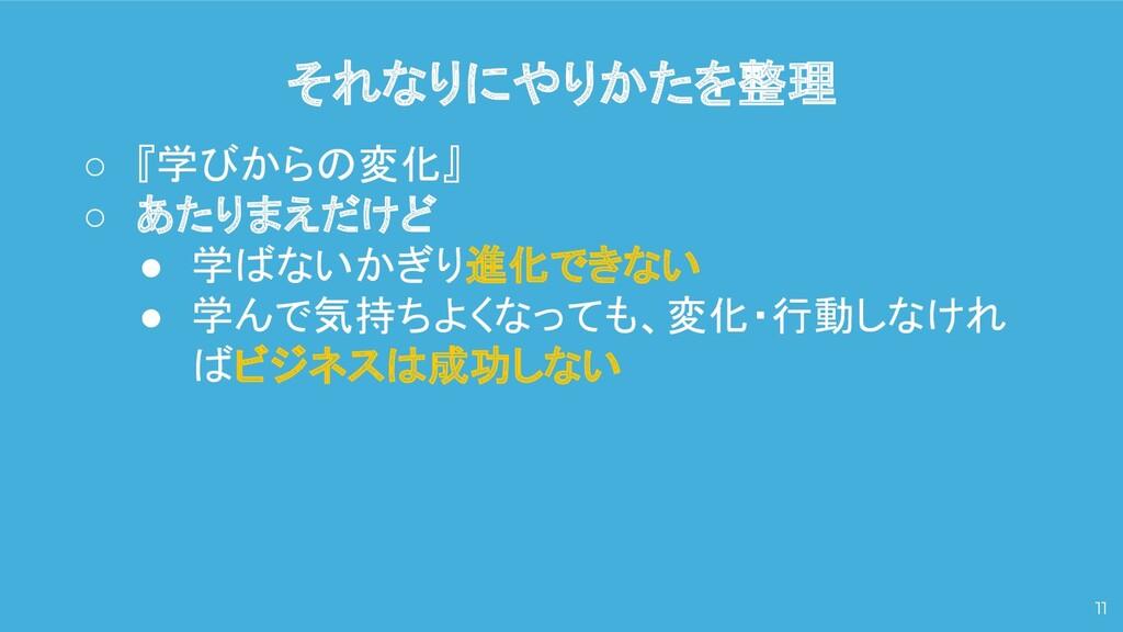 それなりにやりかたを整理 11 ○ 『学びからの変化』 ○ あたりまえだけど ● 学ばないかぎ...