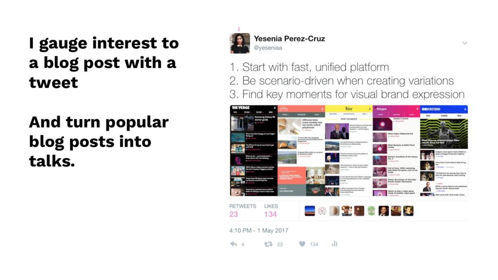 I gauge interest to a blog post with a tweet An...