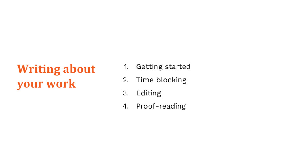 1. Getting started 2. Time blocking 3. Editing ...