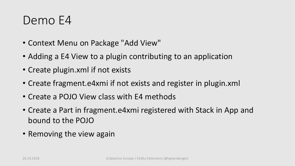 """Demo E4 • Context Menu on Package """"Add View"""" • ..."""