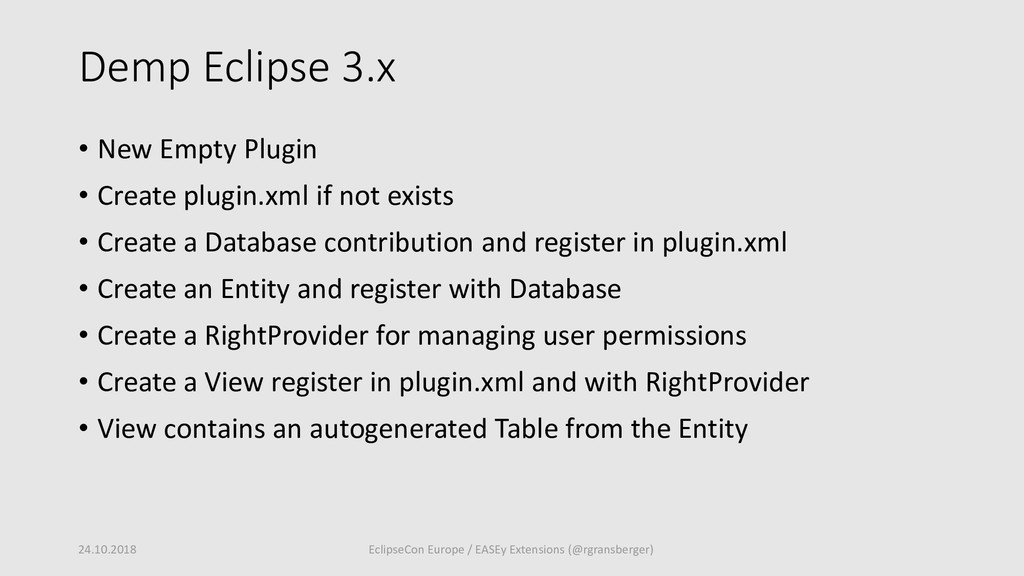 Demp Eclipse 3.x • New Empty Plugin • Create pl...