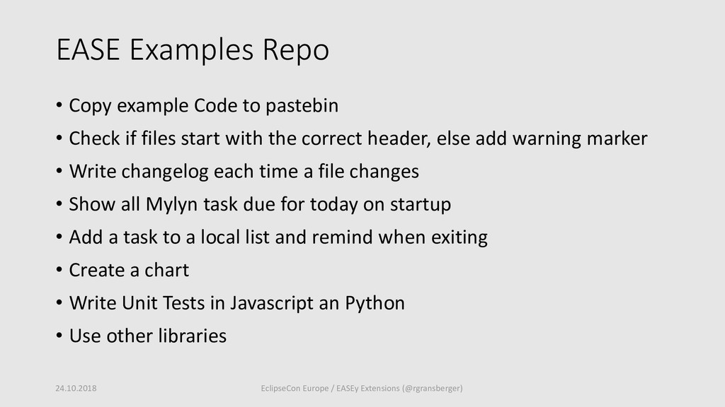 EASE Examples Repo • Copy example Code to paste...