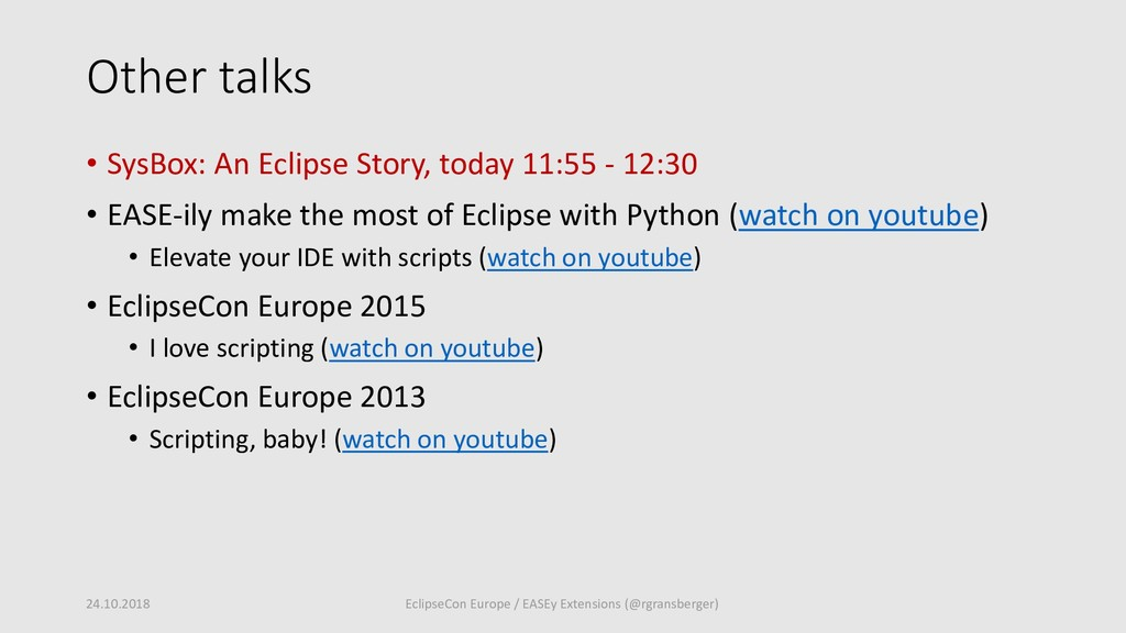 Other talks • SysBox: An Eclipse Story, today 1...