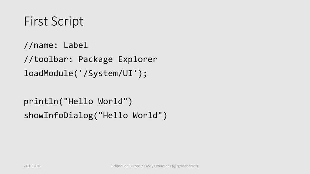 First Script //name: Label //toolbar: Package E...