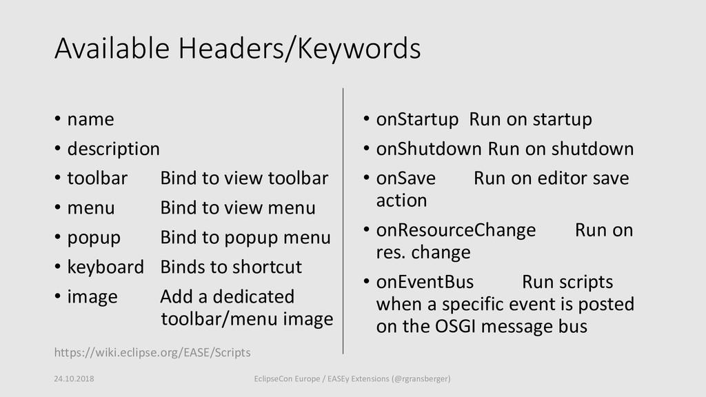 Available Headers/Keywords • name • description...