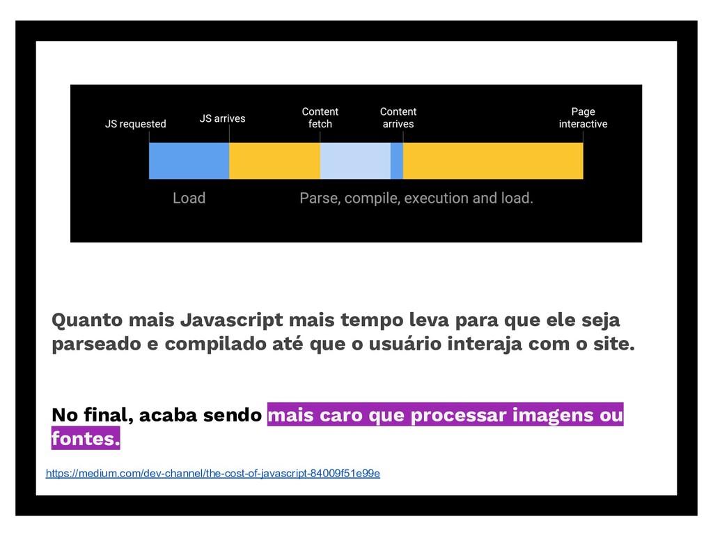Quanto mais Javascript mais tempo leva para que...