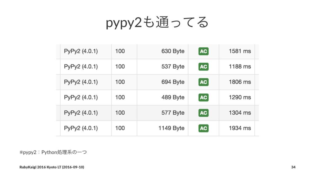 pypy2௨ͬͯΔ ※pypy2ɿPythonॲཧܥͷҰͭ RubyKaigi 2016 K...