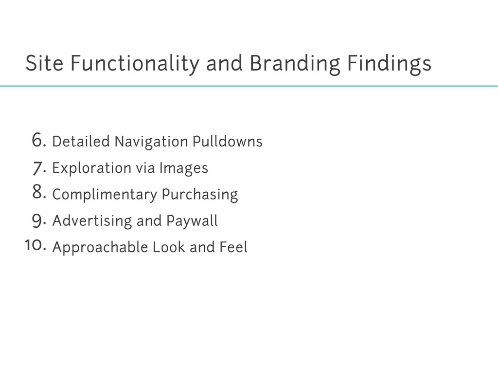 Site Functionality and Branding Findings Detail...