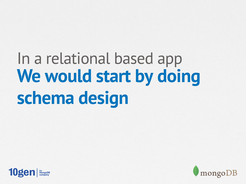 In a relational based app We would start by doi...