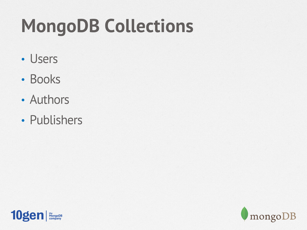 MongoDB Collections • Users • Books • Author...