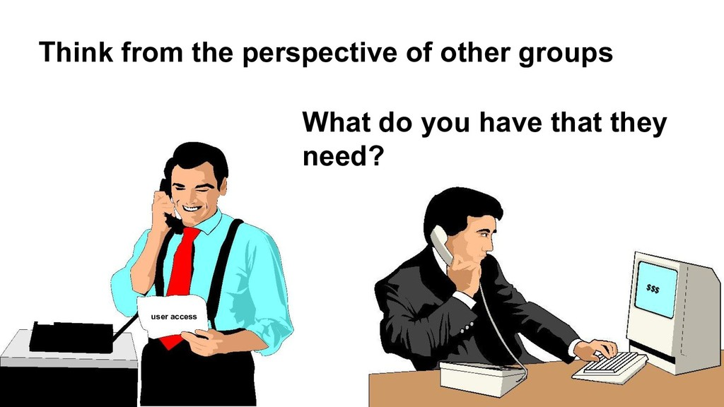 Think from the perspective of other groups What...