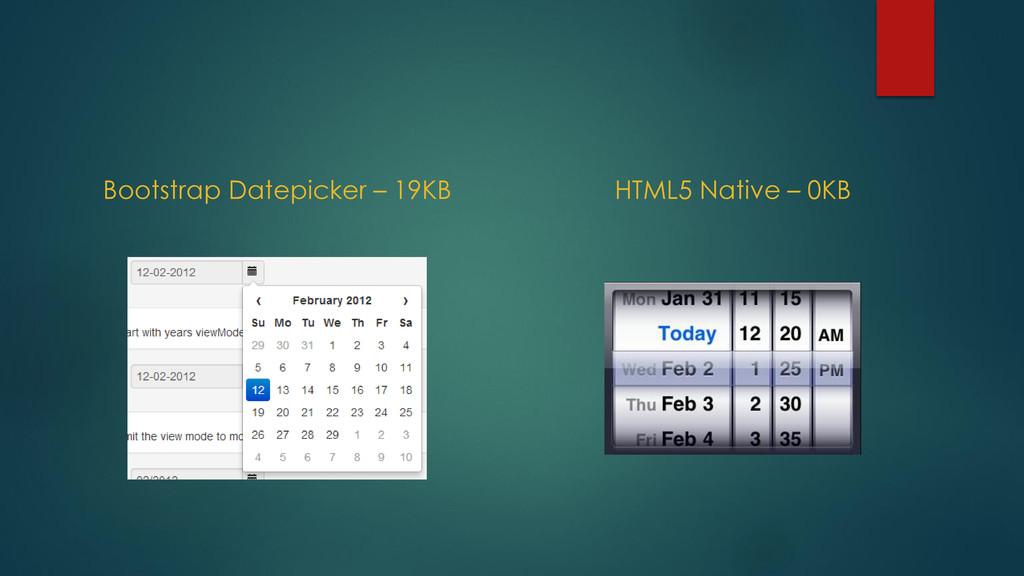 Bootstrap Datepicker – 19KB HTML5 Native – 0KB