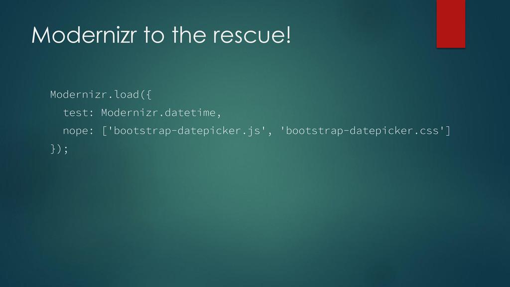 Modernizr to the rescue! Modernizr.load({ test:...