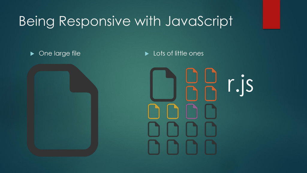 Being Responsive with JavaScript  One large fi...