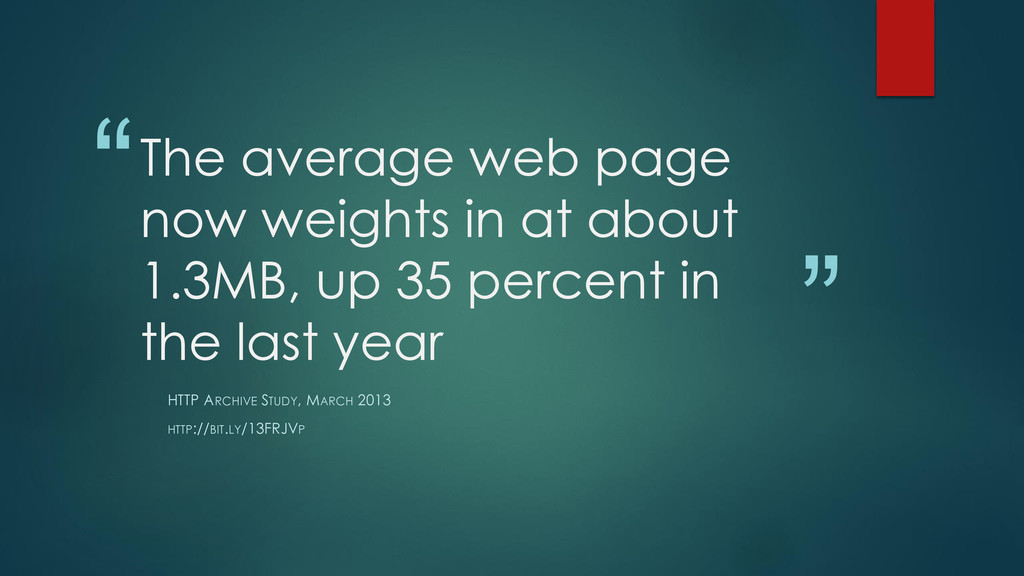 """"""" """" The average web page now weights in at abou..."""
