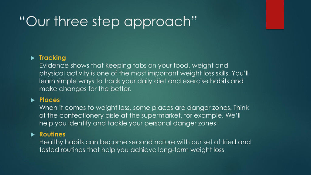 """""""Our three step approach""""  Tracking Evidence s..."""