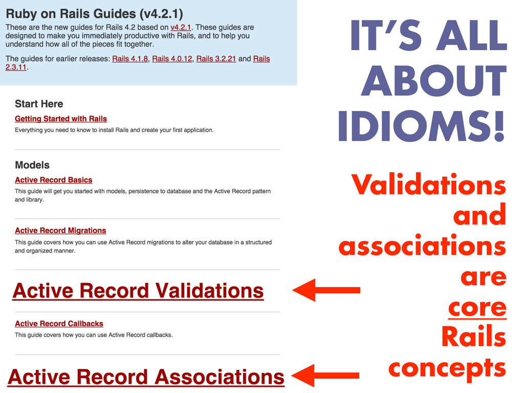 Validations and associations are core Rails con...