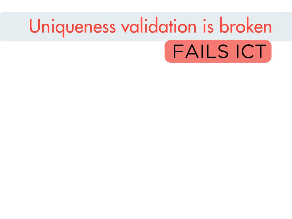 Uniqueness validation is broken FAILS ICT