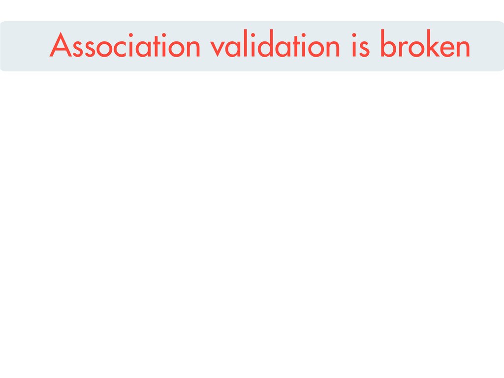 Association validation is broken