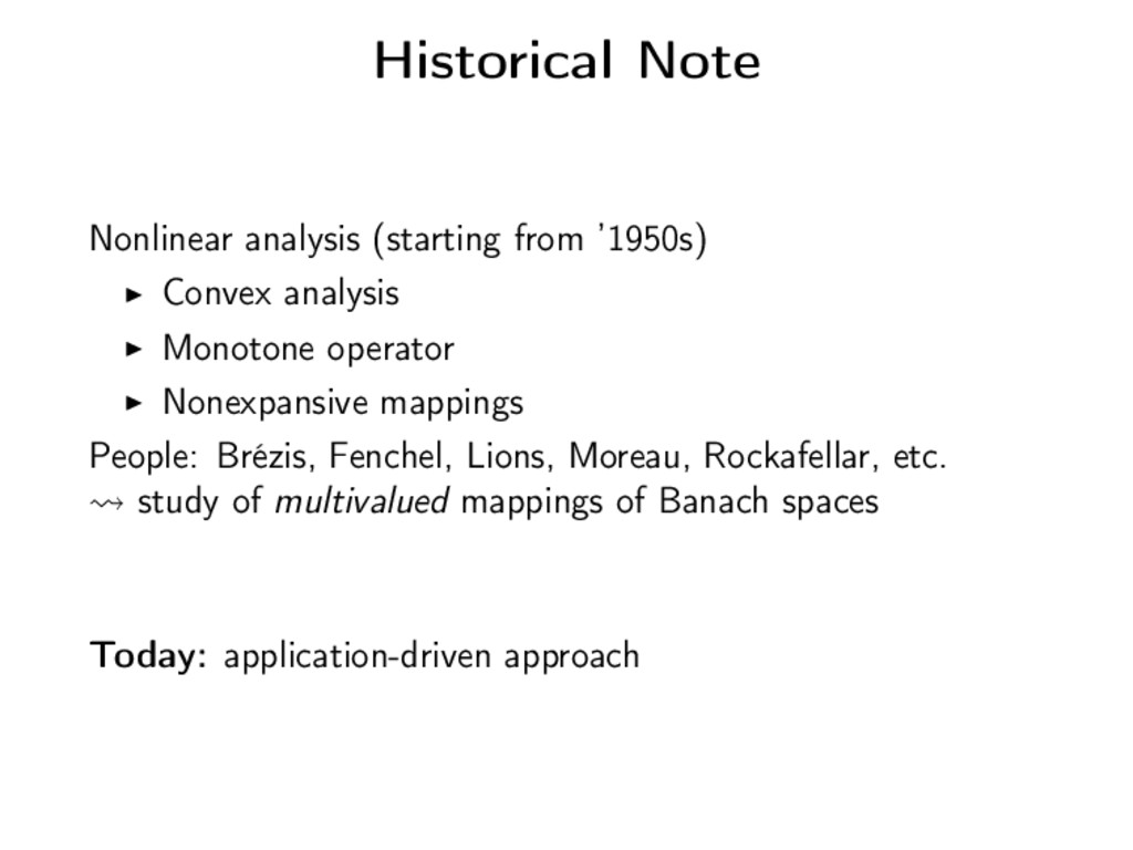 Historical Note Nonlinear analysis (starting fr...