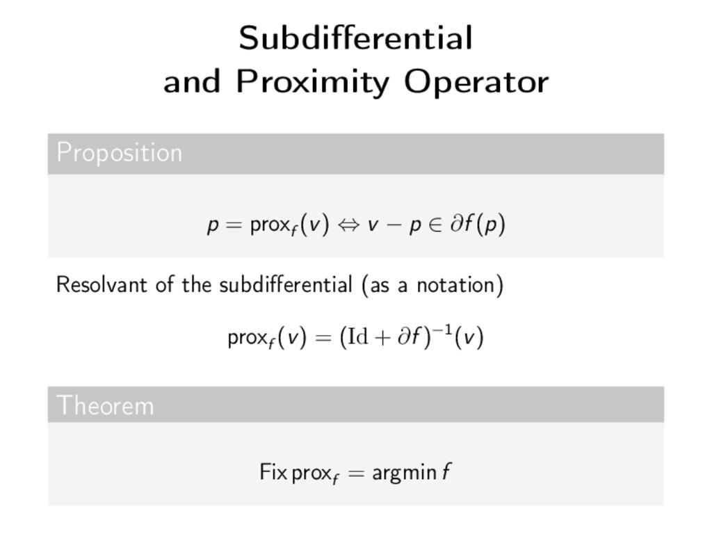 Subdifferential and Proximity Operator Propositi...