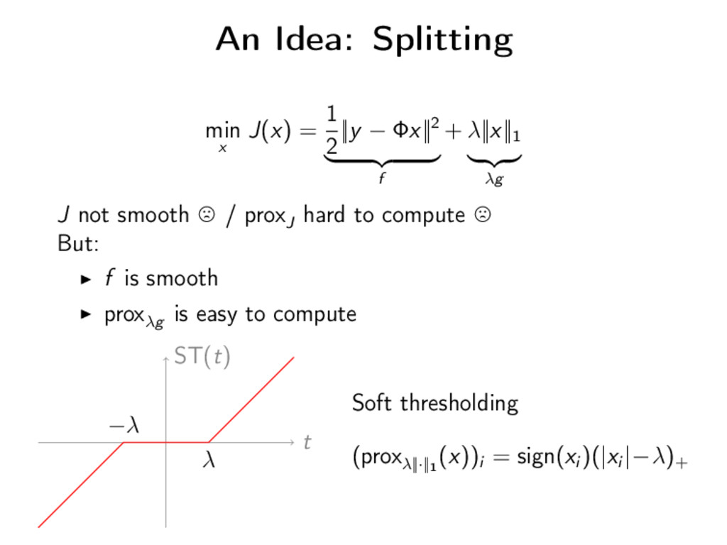 An Idea: Splitting min x J(x) = 1 2 ||y − Φx||2...