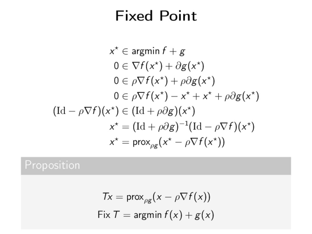 Fixed Point x ∈ argmin f + g 0 ∈ ∇f (x ) + ∂g(x...