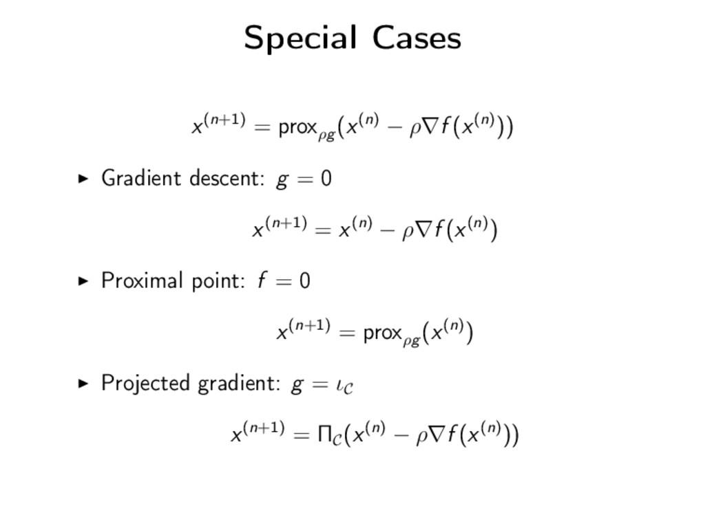 Special Cases x(n+1) = proxρg (x(n) − ρ∇f (x(n)...
