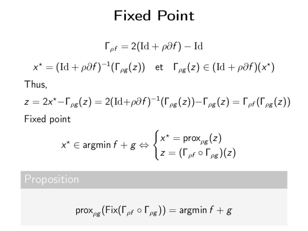 Fixed Point Γρf = 2(Id + ρ∂f ) − Id x = (Id + ρ...