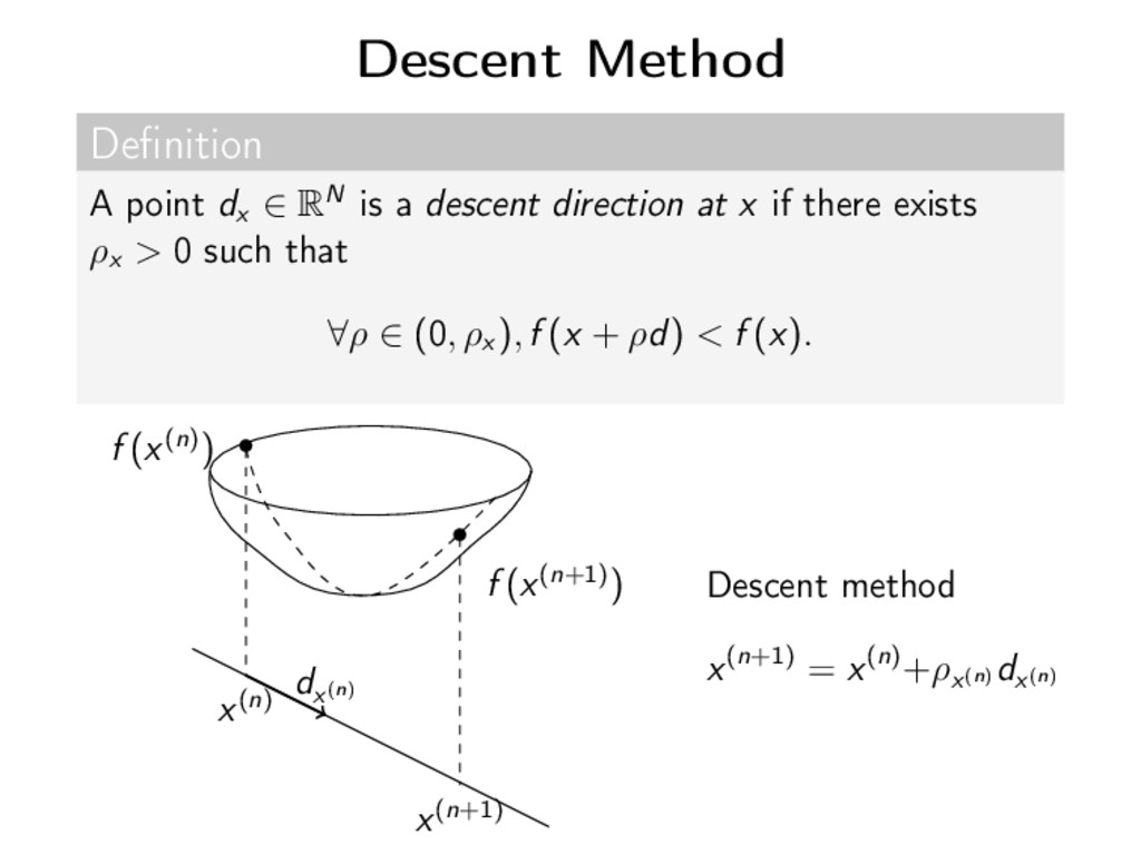 Descent Method Definition A point dx ∈ RN is a d...