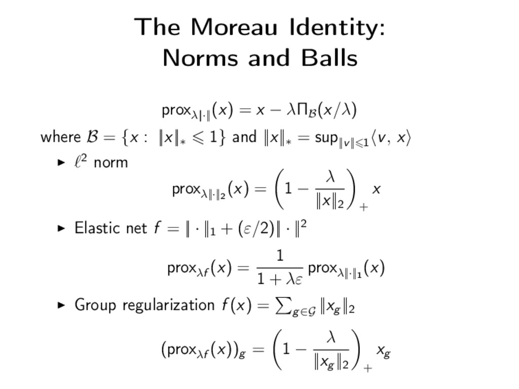 The Moreau Identity: Norms and Balls proxλ||·||...
