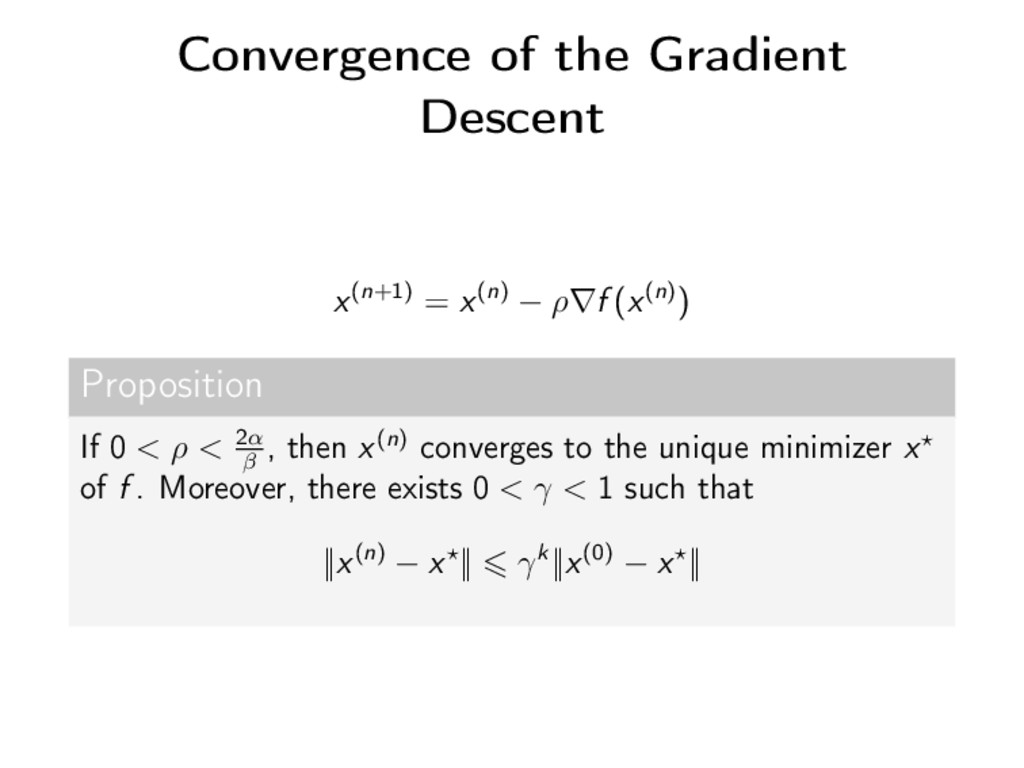 Convergence of the Gradient Descent x(n+1) = x(...