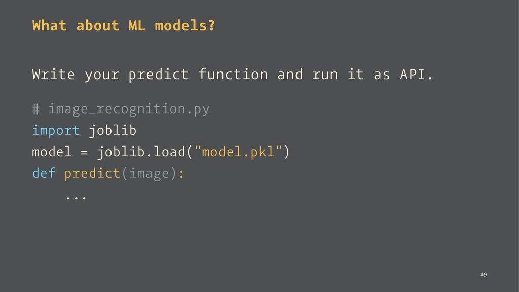What about ML models? Write your predict functi...