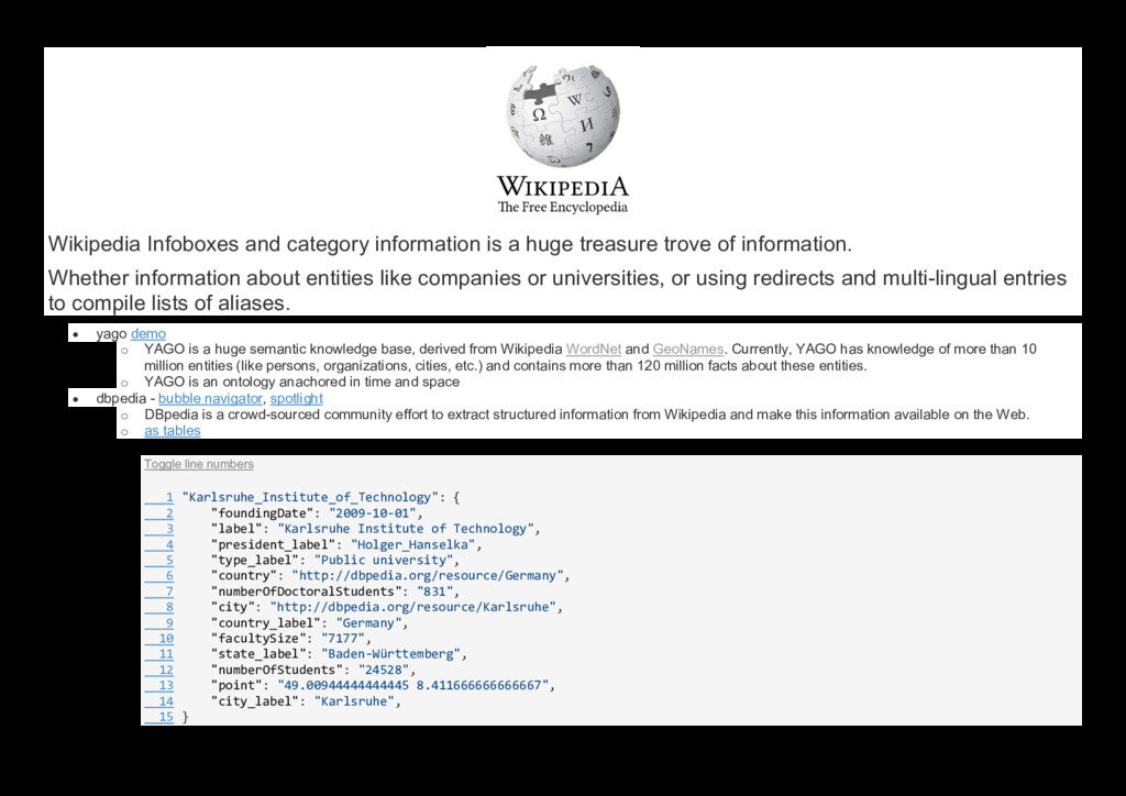 Wikipedia Infoboxes and category information is...