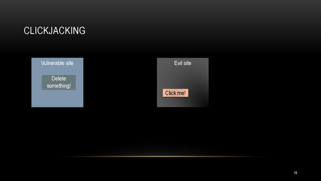 CLICKJACKING Evil site Click me! Vulnerable sit...